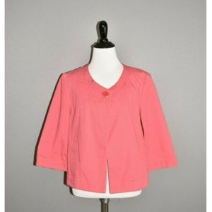 TALBOTS Coral 3/4 Sleeve Cropped Swing Jacket
